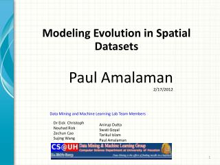 Modeling Evolution in Spatial Datasets