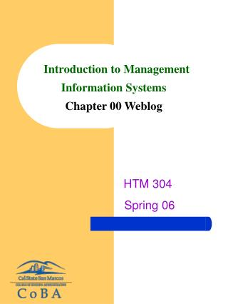 Introduction to Management Information Systems Chapter 00 Weblog