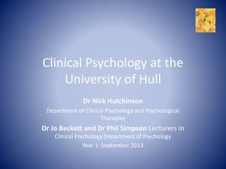 Clinical Psychology at the University of Hull