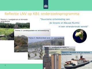 Reflectie LNV op KB1 onderzoeksprogramma