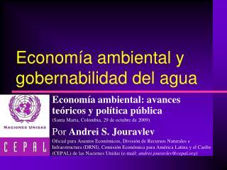 Economía ambiental y gobernabilidad del agua