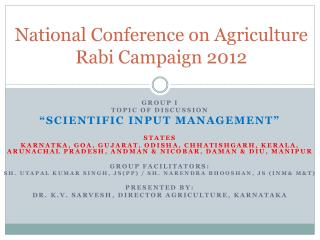 National Conference on Agriculture Rabi Campaign 2012