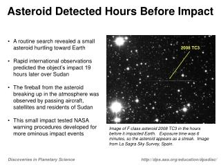 Asteroid Detected Hours Before Impact