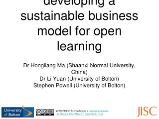 developing a sustainable business model for open learning