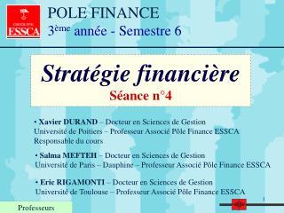 Stratégie financière Séance n°4