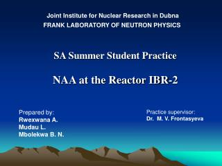 SA  Summer Student Practice NAA at the Reactor IBR-2