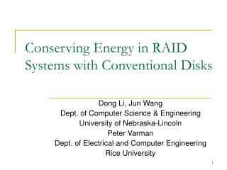 Conserving Energy in RAID Systems with Conventional Disks