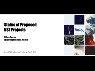 Status of Proposed  NSF Projects