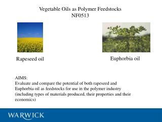 Vegetable Oils as Polymer Feedstocks NF0513