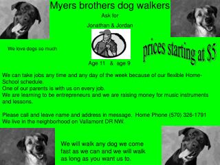 Myers brothers dog walkers