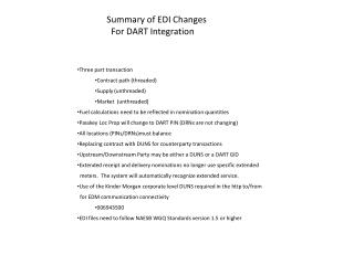 Summary of EDI Changes   For DART Integration