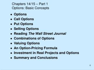 Chapters 14/15 – Part 1 Options: Basic Concepts