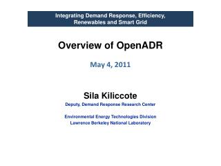 Overview of  OpenADR May 4, 2011