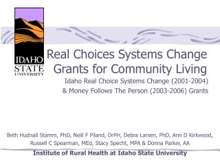 Real Choices Systems Change Grants for Community Living