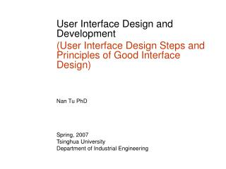 User Interface Design and Development