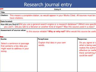 Research journal entry