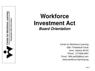 Workforce  Investment Act Board Orientation
