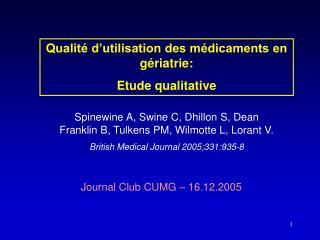 Journal Club CUMG – 16.12.2005