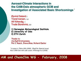 AM and ChemClim WG -  February, 2008