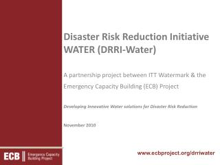 Disaster Risk Reduction Initiative  WATER (DRRI-Water)