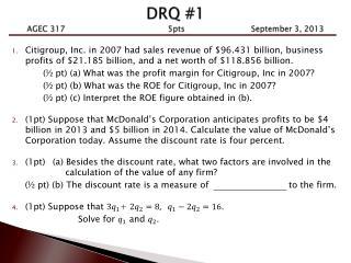 DRQ #1 AGEC 317              5pts     September 3, 2013