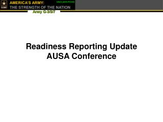Readiness Reporting Update AUSA Conference
