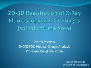 2D-3D Registration of X-Ray Fluoroscopy and CT Images (spinal column area)