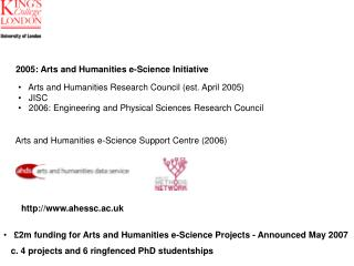 2005: Arts and Humanities e-Science Initiative
