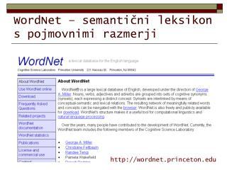 WordNet – semantični leksikon s pojmovnimi razmerji