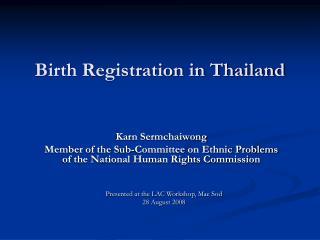 Birth Registration in Thailand