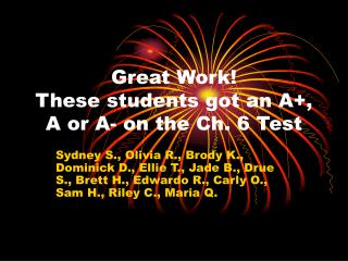 Great Work! These students got an A+, A or A- on the Ch. 6 Test