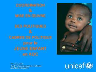 COORDINATION & MISE EN ŒUVRE DES POLITIQUES  &  CADRES DE POLITIQUE         pour le  JEUNE ENFANT