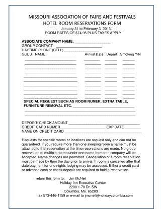 MISSOURI ASSOCIATION OF FAIRS AND FESTIVALS HOTEL ROOM RESERVATIONS FORM