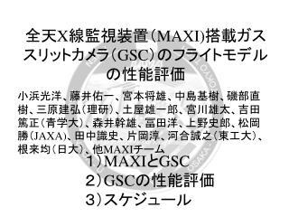 全天 X 線監視装置( MAXI) 搭載ガススリットカメラ( GSC )のフライトモデルの性能評価