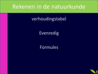 verhoudingstabel Evenredig Formules