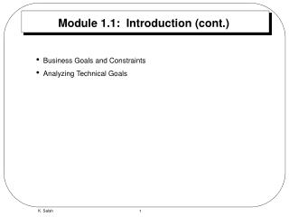 Module 1.1:  Introduction cont.