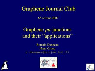 Graphene pn-junctions  and their  applications