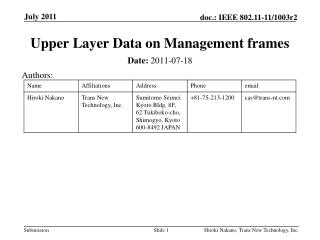 Upper  Layer Data on Management frames