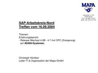 SAP-Arbeitskreis-Nord Treffen vom 16.09.2004