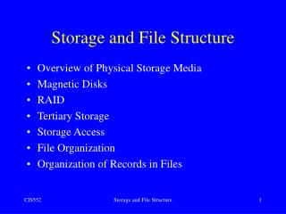Storage and File Structure