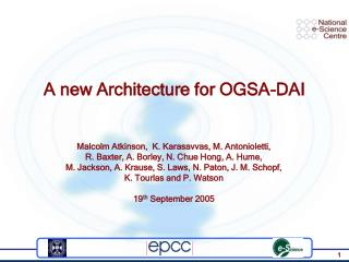 A new Architecture for OGSA-DAI