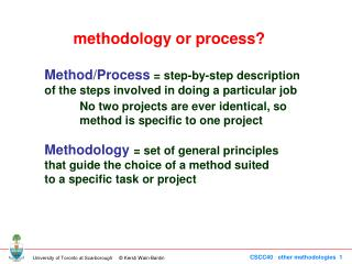 Method/Process  = step-by-step description of the steps involved in doing a particular job