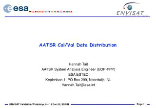 AATSR Cal/Val Data Distribution