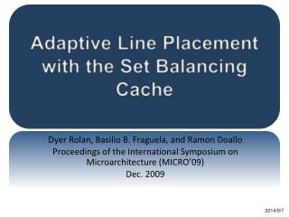 Adaptive Line Placement with the Set Balancing Cache