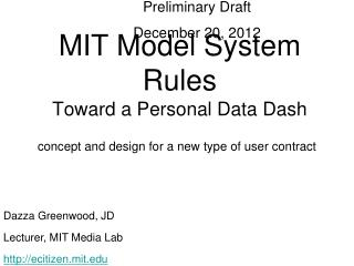 MIT Model System Rules Toward a Personal Data Dash