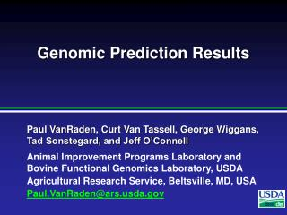 Genomic Prediction Results