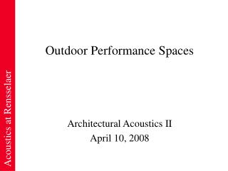 Outdoor Performance Spaces