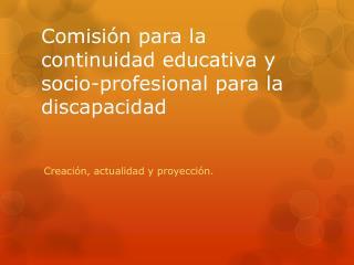 Comisión para la continuidad educativa y socio-profesional para la discapacidad