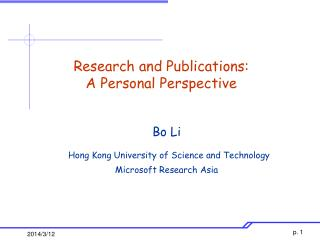 Research and Publications: A Personal Perspective