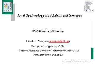 IPv6 Technology and Advanced Services
